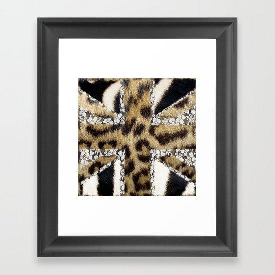 Wild | Hipster leopard Print Zebra UK Union Jack Flag  Framed Art Print