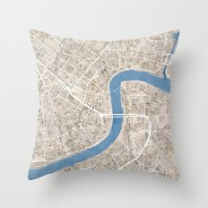 New Orleans Cobblestone Watercolor Map Throw Pillow