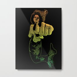 Punching Mermaid Metal Print