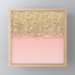 Girly Chic Gold Confetti Pink Gradient Ombre Framed Mini Art Print