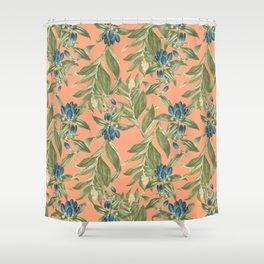 Blue Flowered Gentian Shower Curtain