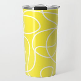 Doodle Line Art | White Lines on Bright Yellow Travel Mug