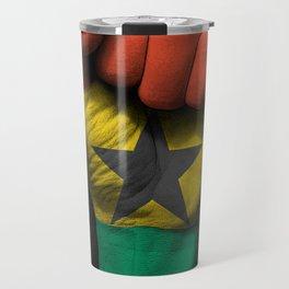 Ghana Flag on a Raised Clenched Fist Travel Mug