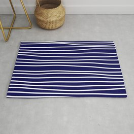 Navy Blue & White Maritime Hand Drawn Stripes - Mix & Match with Simplicity of Life Rug
