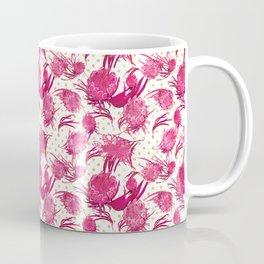 Beautiful Pink Australian Native Flowers on Gold Polka Dots - Protea, Grevillea, Eucalyptus Coffee Mug