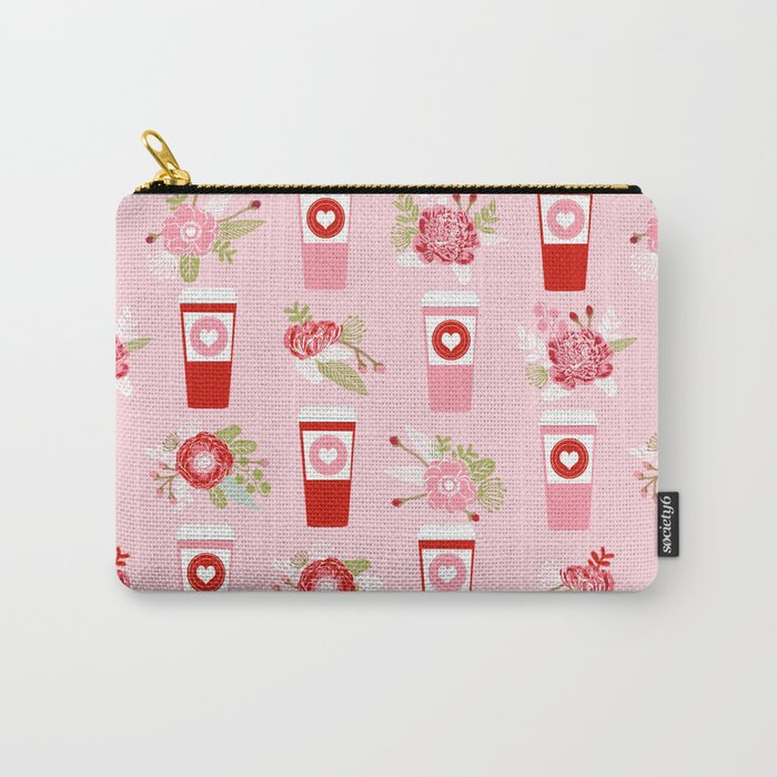 Coffee valentines day florals cute coffee lovers gifts that say i love you Carry-All Pouch
