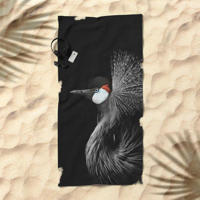 CROWNED CRANE by Monika Strigel Beach Towel