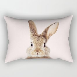 Baby Rabbit, Brown Bunny With Pink Background, Baby Animals Art Print By Synplus Rectangular Pillow