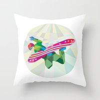 snowboard Throw Pillows featuring Snowboarder Snowboard Jumping Low Polygon by patrimonio
