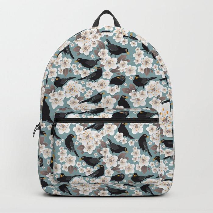 Waiting for the cherries I // Blackbirds blue background Backpack