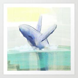 Jumping Humpback Whale Art Print