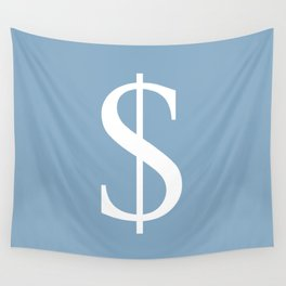 dollar sign on placid blue color background Wall Tapestry