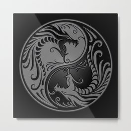 Gray and Black Yin Yang Dragons Metal Print