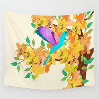 hummingbird Wall Tapestries featuring Hummingbird by Design4u Studio