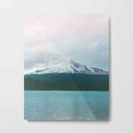 Mountain Lake - Nature Photography - Turquoise Teal Pink Metal Print