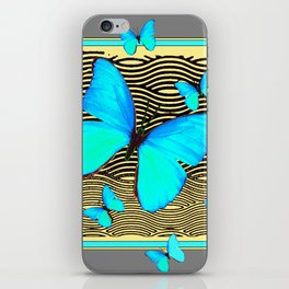 Blue Butterflies On black-yellow Grey Patterns iPhone Skin