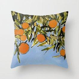 Orange Grove (Blue) Throw Pillow