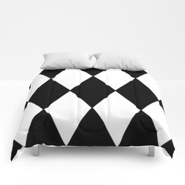LARGE BLACK AND WHITE HARLEQUIN DIAMOND PATTERN Comforters
