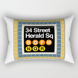 subway herald square sign Rectangular Pillow