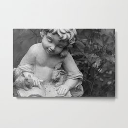 Child Reading in Garden Metal Print