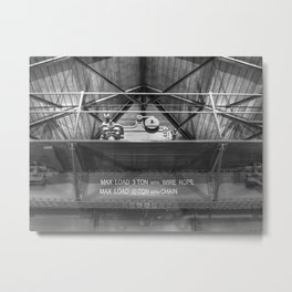 Gantry crane in black and white Metal Print