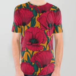 Red poppy garden    All Over Graphic Tee