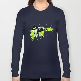 Tired witch and cat Long Sleeve T-shirt