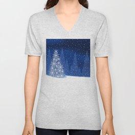 Snowy Night Christmas Tree Holiday Design Unisex V-Neck