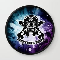 roller derby Wall Clocks featuring Roller Derby Por Vida by Mean Streak