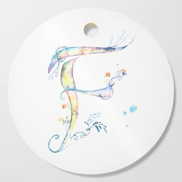 Letter F watercolor - Watercolor Monogram - Watercolor typography - Floral lettering Cutting Board