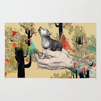 wolf Area & Throw Rugs featuring Found You There  by Sandra Dieckmann
