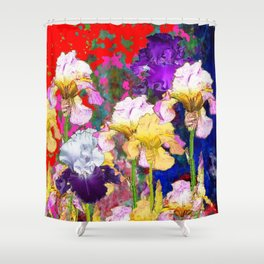 Yellow & Purple Spring Red Iris Garden Shower Curtain