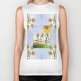 Sunflower Pattern Biker Tank
