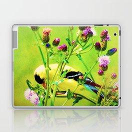 Goldfinch Yellow Bird Purple Flowers A101 Laptop & iPad Skin