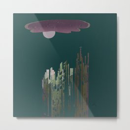 Pink Cloud over the April Super Moon in a City with Green Background Metal Print