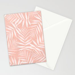 Elegant tropical white palm leaves paint Stationery Cards