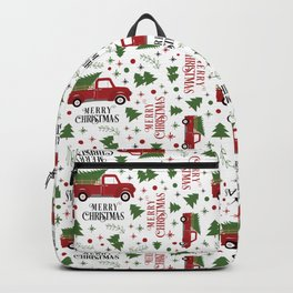 Merry Christmas Red Vintage Truck with Tree Backpack