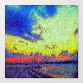 colorful sunset impressionist painting Canvas Print