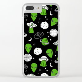 Alien outer space cute aliens french fries rad sodas pattern print black Clear iPhone Case