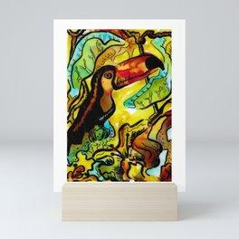 Toucan Jungle Sunrise Watercolor  Mini Art Print