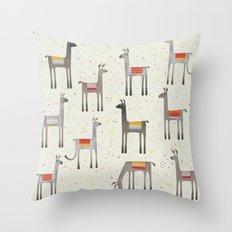 Llamas in the Meadow Throw Pillow