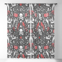 A Pirate's Life Damask Sheer Curtain
