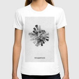 Singapore Black and White Skyround / Skyline Watercolor Painting T-shirt