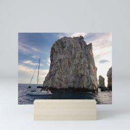 Amazing Sea Stacks | Ocean | Waves | Boat | Bright Blue Sky Mini Art Print