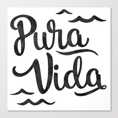 Pura Vida Costa Rica Waves in Black Canvas Print