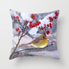 Red Birds of Christmas Throw Pillow