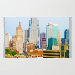 Downtown Kansas City Skyline Tilt Shift Photograph Rug