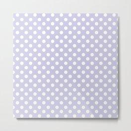Periwinkle Purple and White Polka Dot Pattern Metal Print