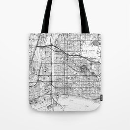 Vintage Map of Long Beach California (1964) BW Tote Bag