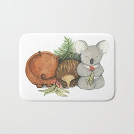 Native Australian Animal Babies – With Koala, Wombat And Echidna Bath Mat